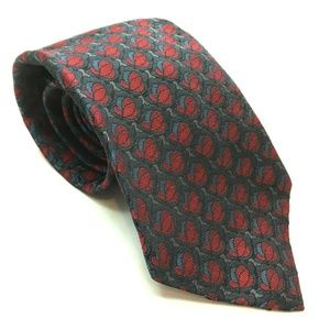 Christian Dior Tie 100% Silk Floral Bud Blue Red